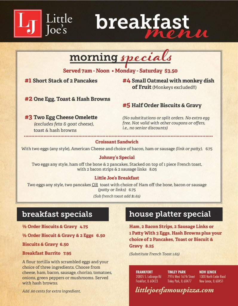 New Lenox Breakfast Menu Page 1