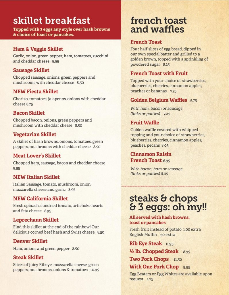 New Lenox Breakfast Menu Page 2