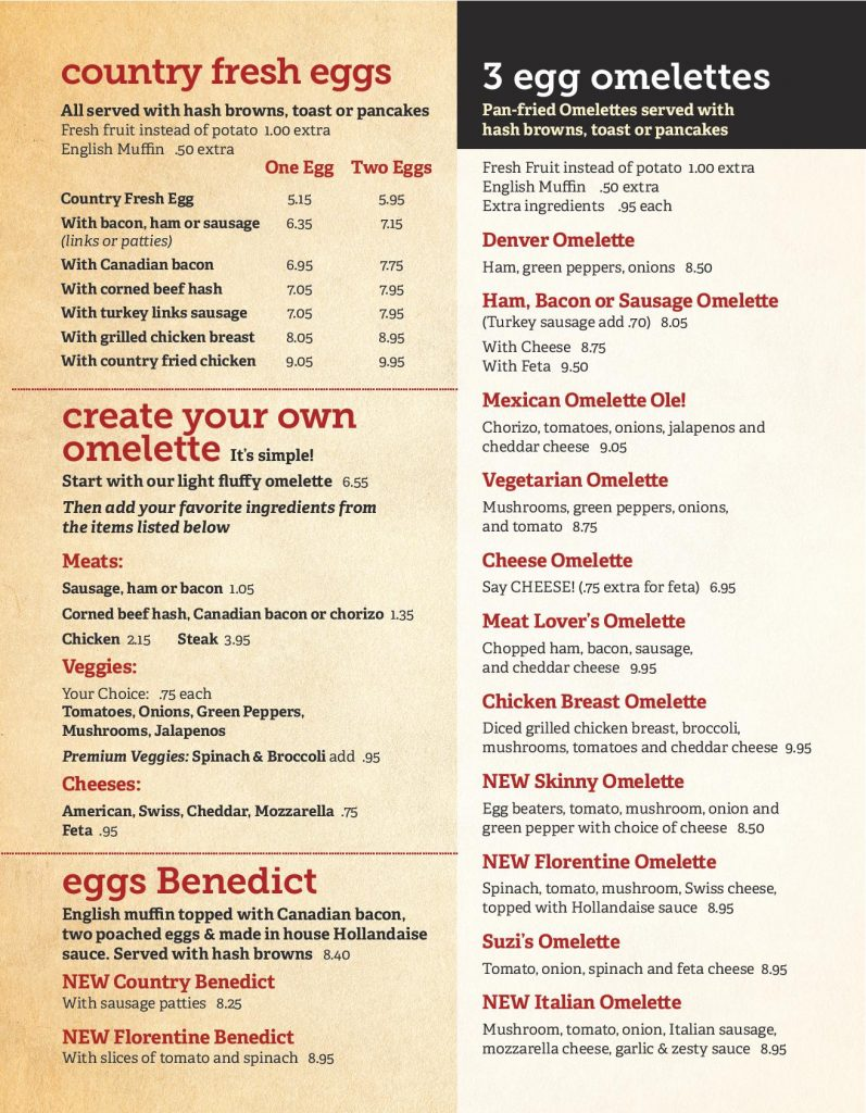 New Lenox Breakfast Menu Page 3