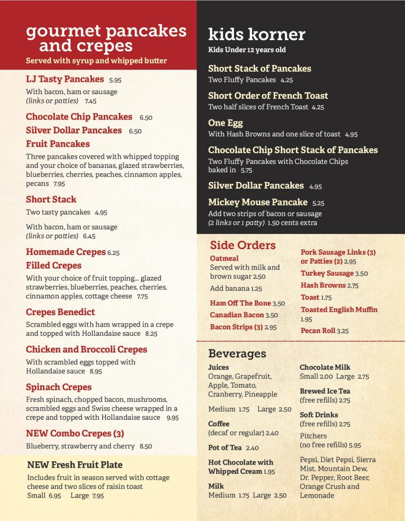 New Lenox Breakfast Menu Page 4