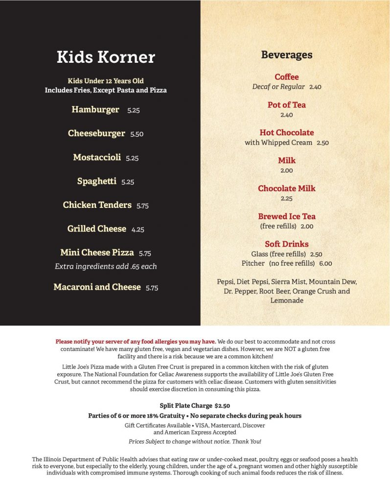 Little Joe's Dinner Menu 1